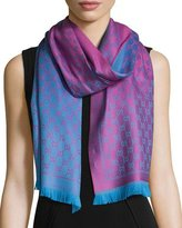 Gucci Reversible Wool Stencil Scarf, Pink/Blue