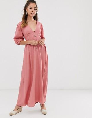 Asos Design DESIGN button through linen maxi dress with cross back-Pink