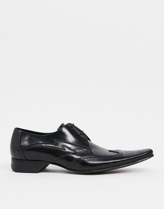 Jeffery West pino lightning bolt lace-up shoes in black