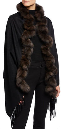 Gorski Cashmere Fringe Stole with Sable Fur Trim