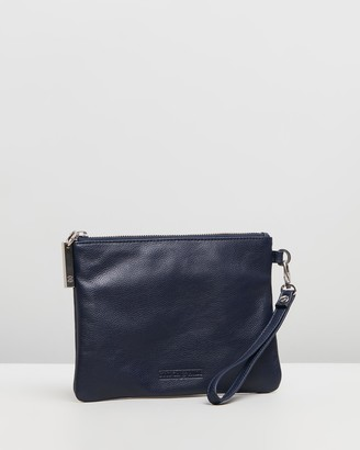 Stitch & Hide - Women's Navy Leather bags - Cassie Clutch - Size One Size at The Iconic