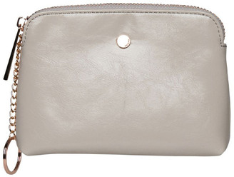 Mocha Sylvia Crinkled Patent Leather Coin Wallet -