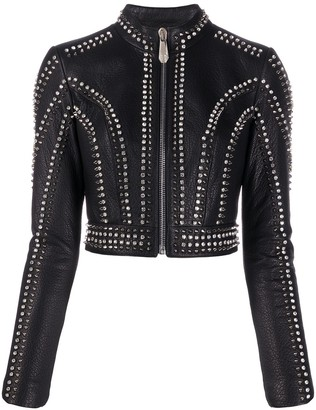 Philipp Plein Studded Zip-Up Jacket