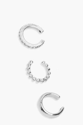 boohoo 3 Pack Textured & Diamante Ear Cuffs