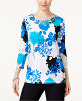 Alfred Dunner Easy Going Embellished Printed Top