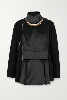 Sacai Leather-trimmed Embellished Paneled Wool And Shell Jacket - Black
