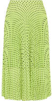 Markus Lupfer Hailey Pleated Polka-dot Georgette Midi Skirt - Lime green