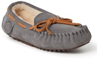 Dearfoams Parke Genuine Shearling Lined Moccasin Slipper