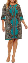 Studio 1 3/4 Sleeve Medallion Sheath Dress-Plus