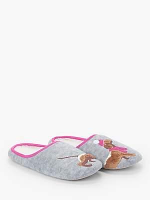 John Lewis & Partners Faux Fur Sausage Dog Mule Slippers, Grey