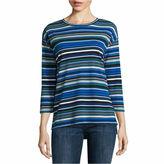 Liz Claiborne 3/4 Sleeve Crew Neck T-Shirt-Talls