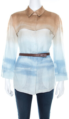 Armani Collezioni Beige Blue Shaded Linen Shirt M