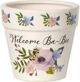"""Precious Moments 171493 Welcome Ba-Bee Decorative Ceramic Flower Pot Garden and Yard Décor, White, 3.5"""" High with 4"""" Diameter"""