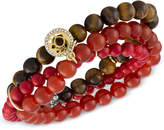 Rachel Roy Gold-Tone Crimson Beaded Multi-Row Stretch Bracelet