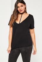 Missguided Plus Size Black Harness Detail T-Shirt