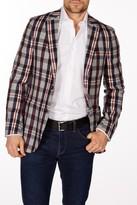 Levinas Gray Fashion Plaid Tartan Two Button Notch Lapel Wool Slim Fit Blazer