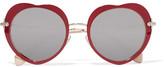 Miu Miu Acetate And Gold-tone Mirrored Sunglasses - Claret