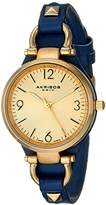 Akribos XXIV Women's AK761BU Swiss Quartz Movement Watch with Yellow Gold Engraved Sunburst Dial and Calfskin Leather Strap