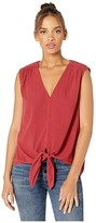 1 STATE 1.State 1.STATE Sleeveless Tie Front Crinkle Gauze Top (Mineral Red) Women's Blouse