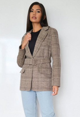 Missguided Brown Plaid Belted Blazer Coat
