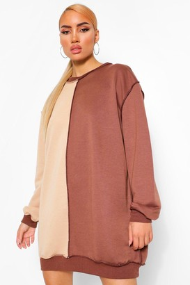 boohoo Colour Block Exposed Seam Sweatshirt Dress