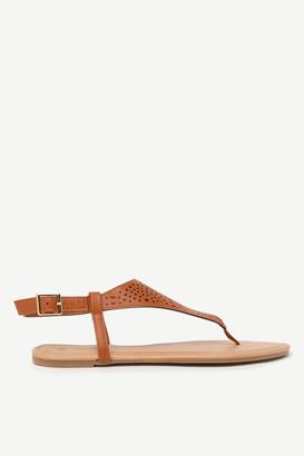 Ardene Faux Leather Cutout T-Strap Sandals