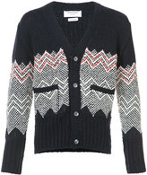 Thom Browne V-Neck Cardigan With Chevron Fair Isle In Navy Cashmere
