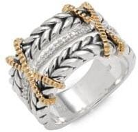 Effy Super Buy Diamond, 18K Yellow Gold & Sterling Silver Ring