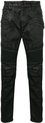 Philipp Plein Distressed Coated Jeans