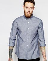 YMC Shirt in Cotton Mix in Blue In Regular Fit