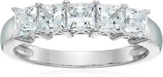 Amazon Collection Platinum-Plated Sterling Silver Swarovski Zirconia 2 cttw Princess Cut 5 Stone Ring Size 8
