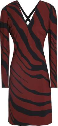 Roberto Cavalli Cutout Zebra-print Stretch-jersey Dress