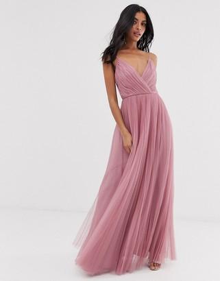 ASOS DESIGN cami pleated tulle maxi dress in rose