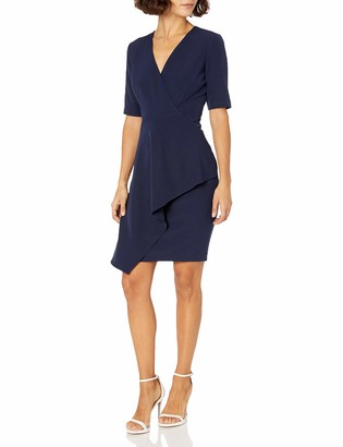 Maggy London Women's Petite Dream Crepe Sheath with Cascade Ruffle Detail