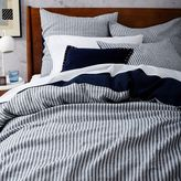 west elm Striped Belgian Flax Linen Duvet Cover - Midnight