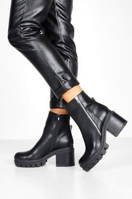 boohoo Zip Side Chunky Platform Boots