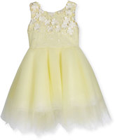 Zoë Ltd Belle Sleeveless Embroidered Tulle Dress, Yellow, Size 4-6
