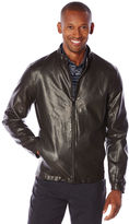 Perry Ellis Faux Leather Front Zip Jacket