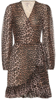 Ganni Printed mesh wrap minidress