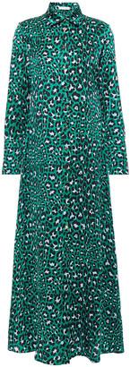 Olivia von Halle Leopard-print Silk-satin Maxi Shirt Dress