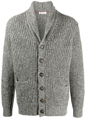 Brunello Cucinelli Shawl Lapel Chunky Knit Cardigan