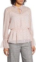 Tommy Hilfiger Polka Dot Long Sleeve Peplum Top