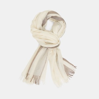Theory Oversized Fringe Scarf in Striped Viscose-Wool Blend