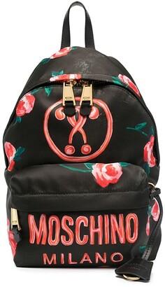 Moschino Floral-Print Logo-Print Backpack