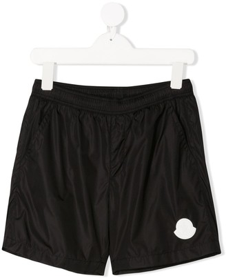 Moncler Enfant Nylon Logo Swim Shorts