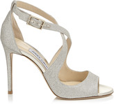Jimmy Choo EMILY 100 Platinum Ice Dusty Glitter Sandals