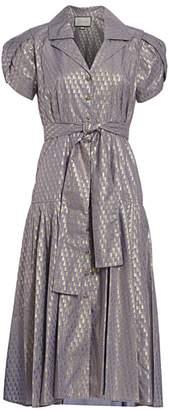 Alexis Azure Metallic Print Midi Dress
