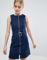 Pepe Jeans Penelope Denim Zip Through Belted Dress