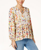 Jessica Simpson Printed Tie-Front Peasant Top