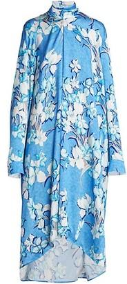 Balenciaga Floral Highneck Vareuse Silk Midi Dress